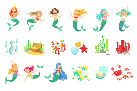 Mermaids And Underwater Nature Stickers. Cute Cartoon Childish Style Illustrations Isolated