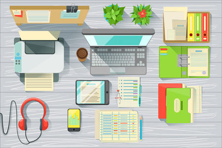 Modern Office Desk Elements Set View From Above. Colorful Illustration In Simple Style In Cartoon Flat Vector Design