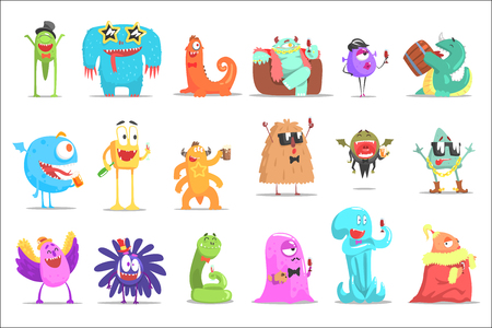Monsters Having Fun At The Party. Funky Creatures Colorful Characters With Party Attributes