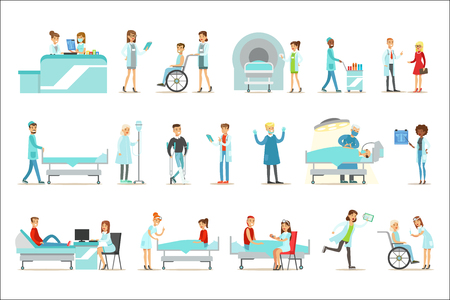 Injured And Sick Patients In The Hospital Receiving Medical Treatment From Professional Doctors And Nurses. People And Healthcare Set Of Illustrations With Men And Women Getting Medical Help In Hospital. Ilustração