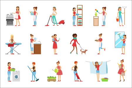 Amas de casa modernas felices de limpieza y limpieza, realizando diferentes tareas domésticas con una sonrisa Ilustración de vector