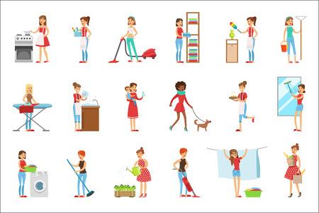 Gelukkig moderne huisvrouwen schoonmaken en huishouden, verschillende huishoudelijke taken uitvoeren met een glimlach Vector Illustratie
