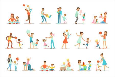 Kochający ojcowie, grając i ciesząc się dobrą jakością tatuś czas z ich szczęśliwy dzieci zestaw ilustracje kreskówka pojedynczy tata i dziecko uśmiechający się płaski kolorowy wektor znaków kolekcji.