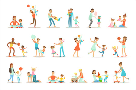 Liefdevolle vaders spelen en genieten van goede kwaliteit papa tijd met hun gelukkige kinderen Set Cartoon illustraties alleenstaande vader en kind glimlachend plat kleurrijke Vector Characters collectie.