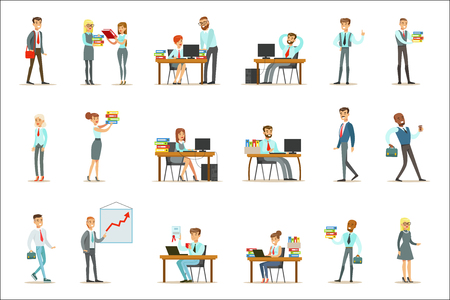 Happy Office Workers And Managers Working In The Office Space On Their Desks And Performing Other Tasks Set Of Illustrations. Modern White Collars Wearing Office Dress Code Outfits, Smiling And Communicating With Colleagues Vector Drawings.