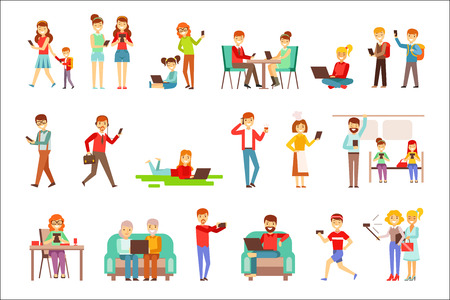 People Being Obsessed With Gadgets Set Of Illustrations. Modern Technology And Its Life Impact Set Of Simple Vector Illustrations.