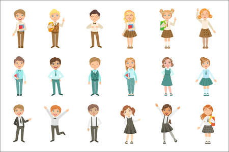 Boys and Girls Wearing An Assortment Of Classy School Uniforms Set. Bright Color Isolated Vector Drawings In Simple Cartoon Design On White Background