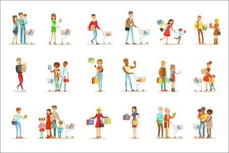 Gente de compras en grandes almacenes y centro comercial Conjunto de personajes de dibujos animados comprando productos y objetos en la tienda. Coloridas ilustraciones vectoriales con hombres y mujeres felices con bolsas de la compra y carros en el supermercado. Ilustración de vector