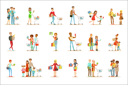 People Shopping In Department Store And Shopping Mall Set Of Cartoon Characters Buying Products And Objects In The Shop. Colorful Vector Illustrations With Happy Men And Women With Shopping Bags And Carts In Supermarket.