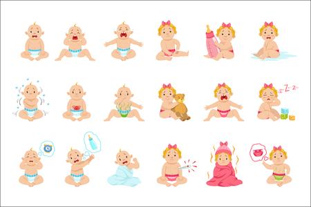 Raisons pour lesquelles bébé garçon et fille pleure une affiche infographique. Bannière de vecteur de couleur vive dans un style de dessin animé simple avec des illustrations isolées sur fond blanc. Vecteurs