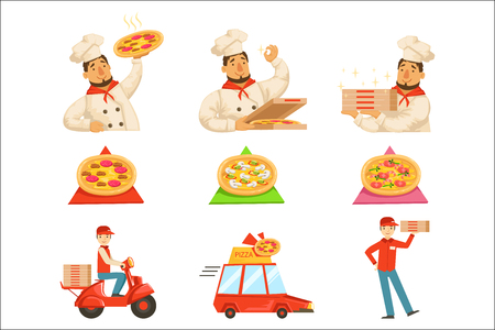Pizza Delievery Fast Service Process Info Illustration. . Set Of Vector Illustrations In Simple Style Demonstrating Steps Of Food Home Delivery Service.  イラスト・ベクター素材