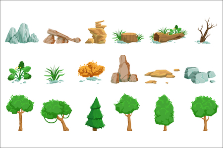 Conjunto de elementos naturales del paisaje de iconos detallados