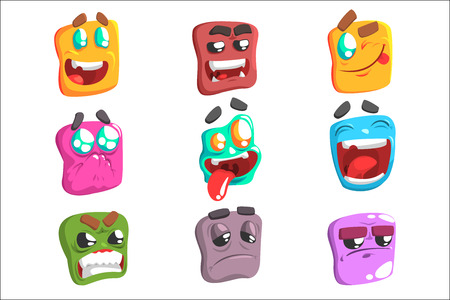 Square Face Colorful Emoji Set Od Isolated Icons On White Background. Cartoon Simple Style Vector Emoticon Collection Of Expressions.