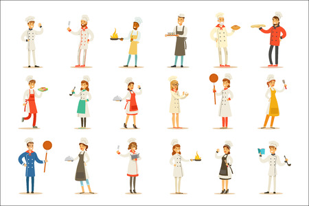 Professional Cooking Chefs Working In REstaurant Wearing Classic Traditional White Uniform Set OF Cartoon Characters. Collection Of Smiling Happy Cafe Cooks Preparing Food In The Kitchen Flat Vector Illustrations. Illustration