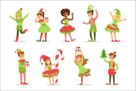 Children Dressed As Santa Claus Christmas Elves For The Costume Holiday Carnival Party. Happy Kids In Their Holyday Disguises Set Of Vector Cartoon Illustrations. Illustration