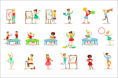 Creative Children Practicing Different Arts And Crafts In Art Class And By Themselves Set Of Kids And Creativity Themed Illustrations. Flat Cartoon Vector Drawings With Scholars Demonstrating Pottery, Dance, Singing, Painting And Other Creative Skills 向量圖像
