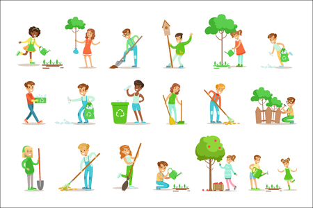 Children Helping In Eco-Friendly Gardening, Planting Trees, Cleaning Up Outdoors, Recycling The Garbage And Watering Sprouts. Happy Kids Interacting With Nature And Participating In Garden Clean-up Procedures Set Of Vector Illustrations.