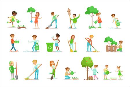 Kinder helfen bei der umweltfreundlichen Gartenarbeit, beim Pflanzen von Bäumen, beim Aufräumen im Freien, beim Recycling des Mülls und beim Gießen von Sprossen. Glückliche Kinder, die mit der Natur interagieren und an Gartenreinigungsverfahren teilnehmen Set von Vektor-Illustrationen.