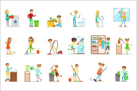 Bambini che aiutano con la pulizia della casa, lavano il pavimento, buttano la spazzatura e annaffiano le piante