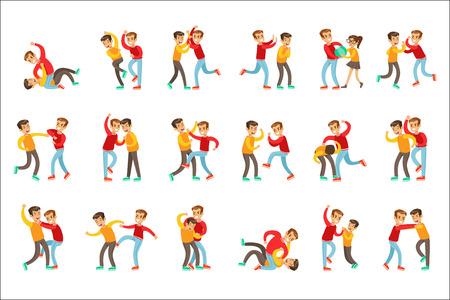 Deux positions de combat de poing pour garçons, un tyran agressif en haut rouge à manches longues combattant un autre enfant qui est plus faible mais qui se défend. Ensemble d'agressions et de conflits chez les adolescentes de vecteur plat entraînant des illustrations de combat de rue.