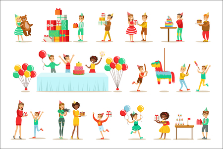 Children Birthday Party Set Of Scenes. Illustrations With Party Attributes, Balloons And Decorations With Happy Boys And Girls In Cone Hats.