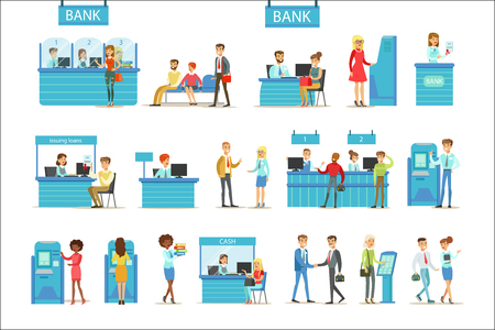 Bank Service Professionals And Clients Different Financial Affairs Consultancy, ATM Cash Manipulation Other Business Set Of Illustrations Ilustrace