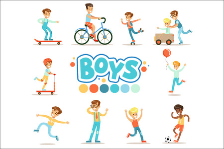 Happy Boys And Their Expected Classic Behavior With Active Games And Sport Practices Set Of Traditional Male Kid Role Illustrations. Collection Of Smiling Teenage Boys And Their Interests Vector Flat Illustrations.