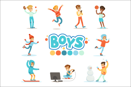 Happy Boys And Their Expected Normal Behavior With Active Games And Sport Practices Set Of Traditional Male Kid Role Illustrations. Collection Of Smiling Teenage Boys And Their Interests Vector Flat Illustrations. Фото со стока - 111889883