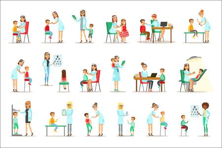 Kinder bei ärztlicher Untersuchung mit weiblichen Kinderarztärzten, die eine körperliche Untersuchung für die Gesundheitsinspektion im Vorschulalter durchführen. Junge Kinder auf medizinischem Termin, der allgemeinen Satz der körperlichen Verfassung prüft Satz von Abbildungen. Vektorgrafik