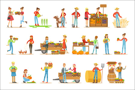 Farmers Men And Women Working At The Farm And Selling Fresh Farming Vegetables On Natural Organic Product Market. Set Of Cartoon Happpy Characters Growing Crops And Animals For Food Vector Illustrations. Stock Illustratie