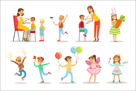 Children In Costume Party Set OF Vector Illustrations With Happy Kids Having Their Faces Painted And Demonstrating Disguises At Festival Celebration. Smiling Boys And Girls Cartoon Characters Having Fun And Dressing Up.