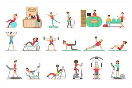 Ludzie członek klasy fitness, ćwicząc, ćwicząc ze sprzętem i bez, trenując w modnej odzieży sportowej. Zdrowy styl życia i fitness zestaw ilustracji z mężczyzn i kobiet odwiedzających siłownię.