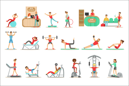 People Member Of The Fitness Class Working Out, Exercising With And Without Equipment, Training In Trendy Sportswear. Healthy Lifestyle And Fitness Set Of Illustrations With Men And Women Visiting Gym. Illustration