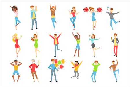People Having Fun At The Party Set Of Illustrations. Flat Colorful Simple Drawings With Different People Having Good Time And Smiling At The Event. Standard-Bild - 111889890