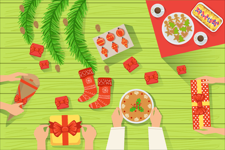 Family At The Traditionally Served Christmas Table View From Above. Simple Bright Color Vector Illustration With Only Hands Visible, Presents And Holiday Food. Foto de archivo - 106690093