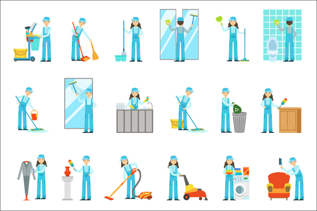 Workers Providing Cleaning Service In Blue Uniform Set Of Illustrations 일러스트