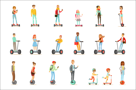 Les personnes conduisant une batterie électrique auto-équilibrée alimentent des scooters électriques personnels avec une ou deux roues, ensemble de personnages de dessin animé