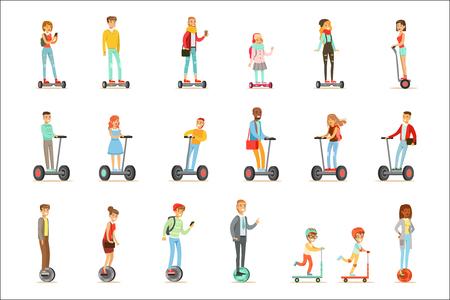 Personas que viajan con baterías eléctricas autoequilibradas, scooters eléctricos personales con una o dos ruedas, conjunto de personajes de dibujos animados