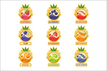 Collection d'autocollants d'étiquettes de confiture de modèles dans des cadres ronds. Étiquettes De Vecteur De Pot De Baies Et De Fruits Colorés Pour La Marmelade Maison.