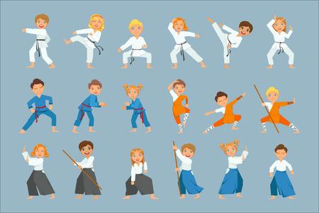 Dzieci na zestaw szkoleniowy sztuk walki jasnych kolorów na białym tle rysunków wektorowych w prostym stylu kreskówki na niebieskim tle .