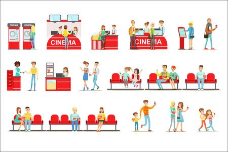 Glückliche Menschen im Kino, kaufen Tickets und Popcorn und sitzen auf ihren roten Sitzen, um einen Film in 3D-Brille zu sehen. Lächelnde Männer und Frauen im Kino drinnen Set von Cartoon-Vektor-Illustrationen.