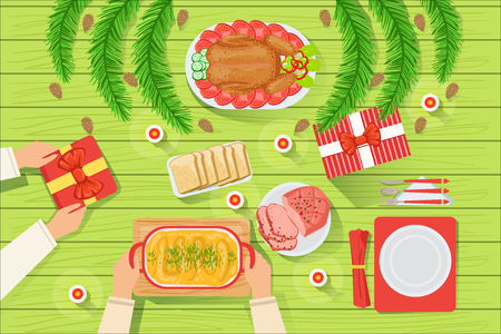 Couple With The Traditionally Served Christmas Table View From Above. Simple Bright Color Vector Illustration With Only Hands Visible, Presents And Holiday Food. Foto de archivo - 111889898