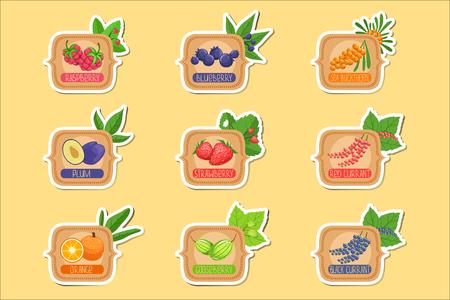Jam Label Sticker Sammlung von Vorlagen in quadratischen Rahmen. Farbige Beeren und Obstglas Vektor-Etiketten für hausgemachte Marmelade.