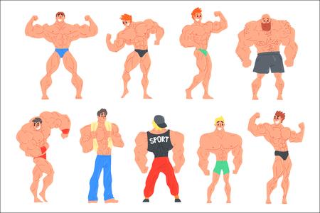 Conjunto de personajes divertidos de culturistas musculosos. Ilustraciones de vectores de estilo divertido de dibujos animados aisladas sobre fondo blanco. Ilustración de vector