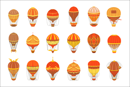 Vintage Hot Air Balloons Set.. Detailed Vector Drawings In Orange An Red Colors. Old-school Air Travel Transportation Design Collection. Illustration