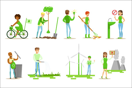 Men And Women Contributin Into Environment Preservation By Using Eco-Frindly Energy And Recycling Illustrations From People And Ecology Set  イラスト・ベクター素材