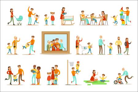Famiglia felice che fa le cose insieme Illustrazione che circonda l'immagine del ritratto di grande famiglia. Tutti i membri della famiglia che si divertono a trascorrere del tempo insieme Vector Cartoon Set. Vettoriali