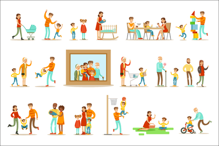Happy Family Doing Things Together Illustration Surrounding Big Family Portrait Picture. All The Household Members Enjoying Spending Time Together Vector Cartoon Set. Ilustração