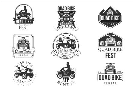 Quad Bike Rental Service Black And White Emblems 向量圖像