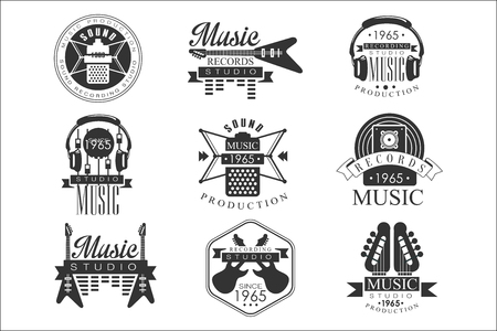 Music Record Studio Black And White Emblems Ilustrace